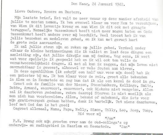 Facsimile van de brief die Broeder Jozef Klingen op 24 januari 1942 enkele uren voor zijn terechtstelling aan zijn familie schreef.