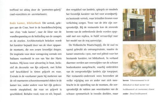 Rode Kamer; Bibliotheek. Uit: Het Huis Hodshon, zetel van de Hollandsche Maatschappij der Wetenschappen in Haarlem (2000).