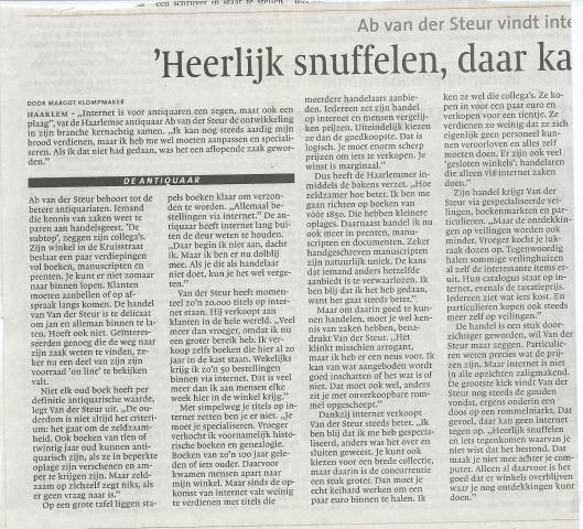 De Antiquaar. Uit: Haarlems Dagblad van 24-3-2007