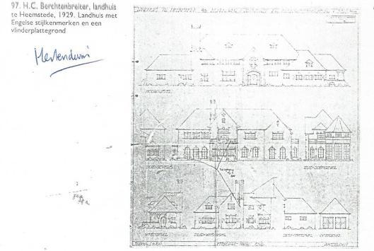 Ontwerp landhuis Hertenduin, Heemstede door H.C.Berchtenbreiter, 1929.