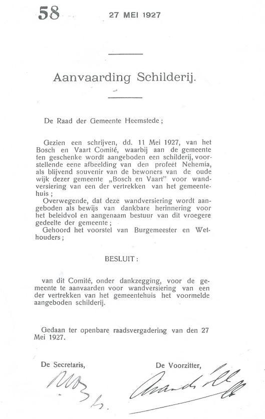 Ook de gemeente Heemstede ontving een afbeelding met een voorstelling van de profeet Nehemia(gemeenteraadsnotulen Heemstede 27 mei 1927).