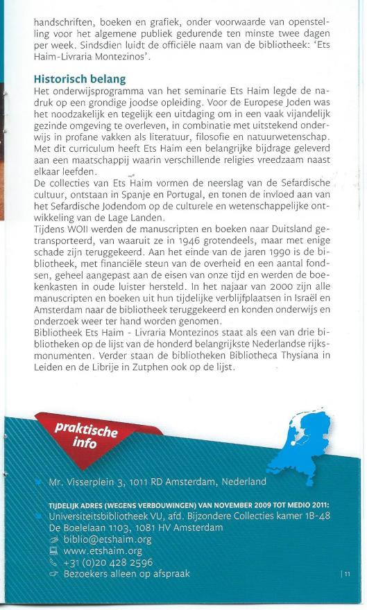 Vervolg Ets Haim bibliotheek Amsterdam