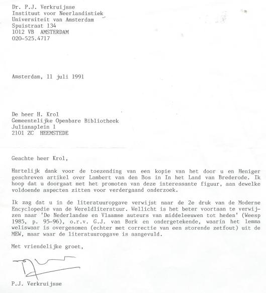 Enschrijven van dr.P.J.Verkruijsse aan H.Krol, de dato 11 juli 1991, betreffende de publicist Lambert van den Bos.
