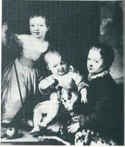 De broers Thomas en Adrian Elias Hope [later eigemaar van Bosbeek tot 1834], met rechts hun Schotse neef John Hope. Schilderij uit 1773 door Willem Joseph Laquy (738-1798). In bezit van de Hertog van Newcastle