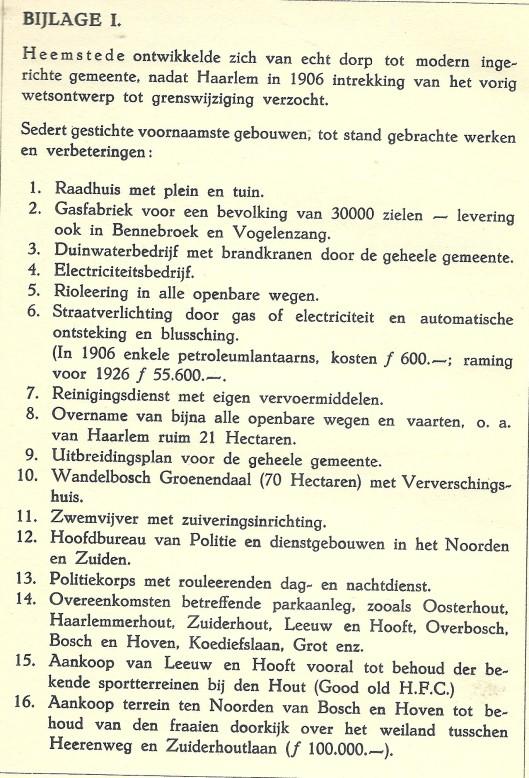Ontwikkelingen gemeente Heemstede 1906-1925