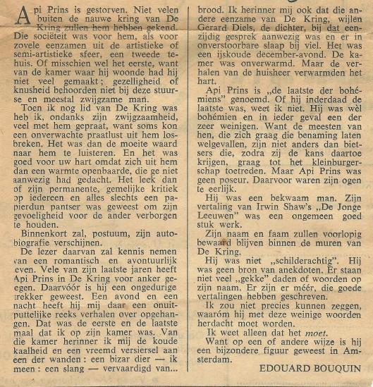 Necrologie Api (e) Prins in Elsevier van 12 juli 1958 door Edouard Bouquin