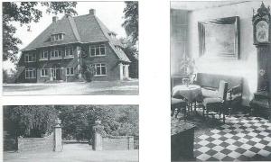 Linksboven: Kennemeroord op een foto uit 1939. Daaronder: het monumentale nog bestaande toegangshek van Kennemeroord met hardstenen pijlers en geseed hek, geflankeerd doot twee aflopende muren. Rechts: de hal in het vroegere door Andries de Maaker ontworpen huis