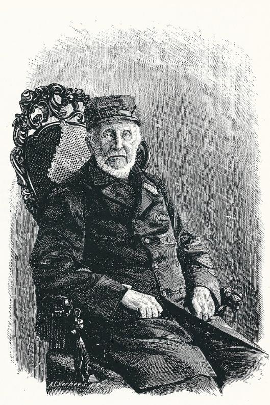 Jonkheer Bernard van Merlen, gepensioneerd generaal-majoor op 90-jarige leeftijd. Houtgravure van A.C.Verhees, gepubliceerd in 'Eigen Haard', 1890