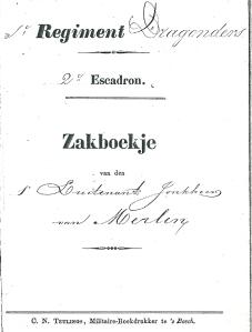 Voorzijde zakboekje van jhr. J.B. van Merlen, officier regiment Dragonders 2e escadron cavalerie tot 1872. Daarna rentenier.