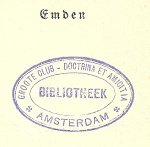 Stempel uit afgeschreven boek van de 'Groote Club'