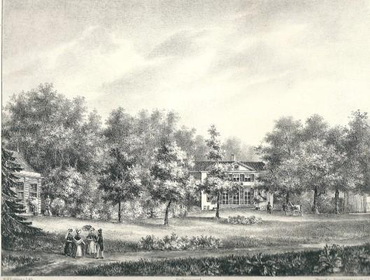 De hofstede Meer en Berg vanuit de tuin. Met links de Oranjerie. Litho van P.J.Lutgers uit 1842