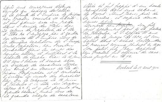 Handschrift van jhr.J.B.van Merlen die de Franse taal uitstekend besheerste (Bosbeek, 1904)