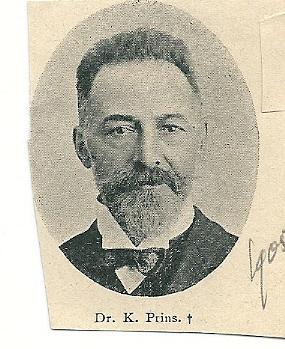 Dr.K.Prins. Uit tijdschrift De Prins van 1905: 'Te Haarlem is, 57 jaar oud overleden dr. K.Prins, die daar jarenlang de praktijk uitoefende, na eerst geruimen tijd te Heemstede te hebben gepraktiseerd