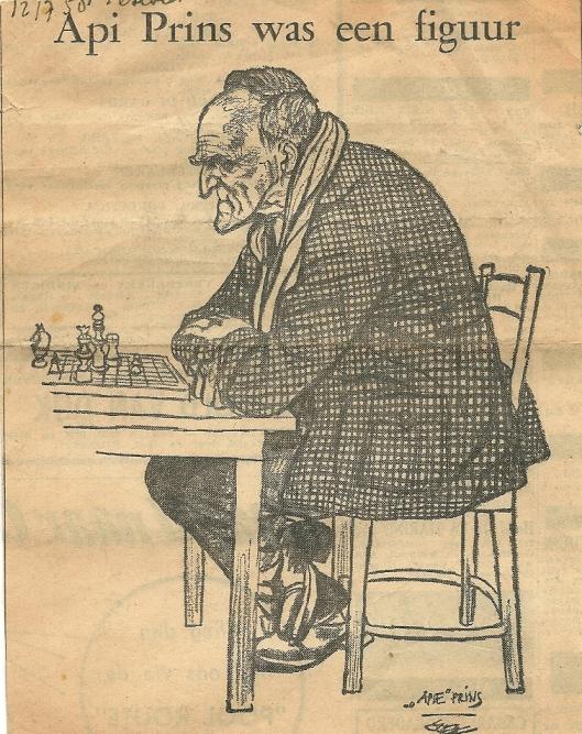 Cartoontekening Apie Prins uit 1958