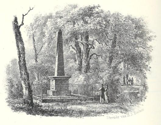 Gedenknaald nabij Huis te Manpad aan de Herenweg Heemstede. Steendruk van H.J.Backer, circa 1840