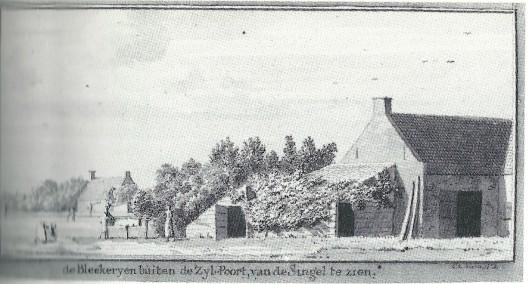 'de Bleekerijen buiten de Zijl-poort van de Singel te zien, (in verso) de bleekerijen op de Nieuwe Singel te zien, bij de Zijlpoort. Tekening van Cornelis van Noorde uit 1761.