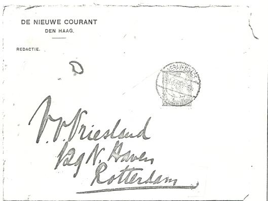 Omslag brief van een jonge Apie Prins uit 1916 aan Victor van Vriesland in Rotterdam