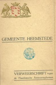 Vooromslag van Verweerschrift gemeente Heemstede, uit 1925, 64 pagina's tellend.