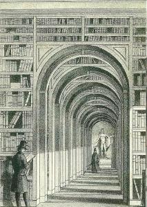 Kapel (kleine bibliotheekzaal) op een afbeelding uit 1836 van het vroeger paleis van koning Lodewijk Napoleon in gebruik bij de universiteitsbibliotheek sinds 1820
