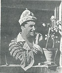 Een afbeelding van Henry Philip Hoe in een typische uitdossing die men eerder van zijn zijn excentrieke broer Adrian Elias zou mogen verwachten