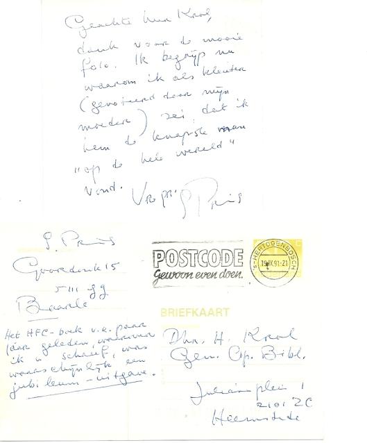 Handschrift van dochter Sonja Prins