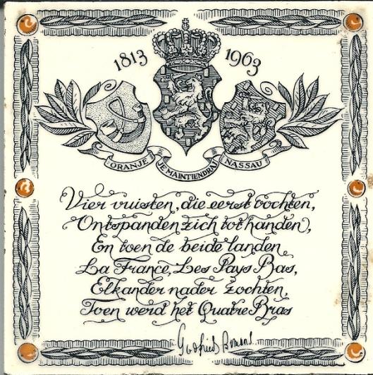 Wandtegeltje met een vers van Godfried Bomans