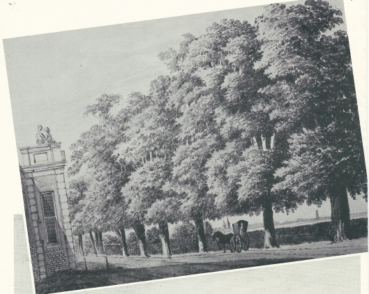 Tekening van Hendrik Tavenier uit 1775. Met links Meer en Berg en tussen de bomen zijn twee torens van het Slot zichtbaar
