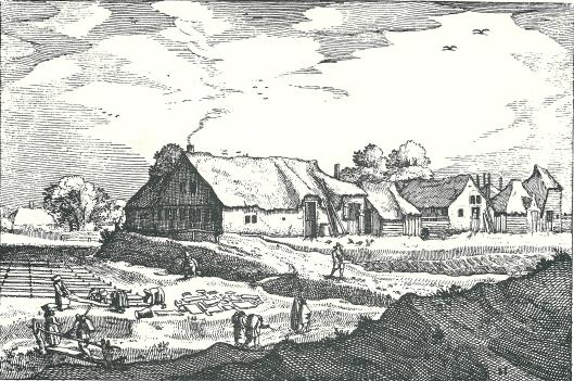 'Blekerijen door den Houdt' door Claes Janszoon Visscher, circa 1607