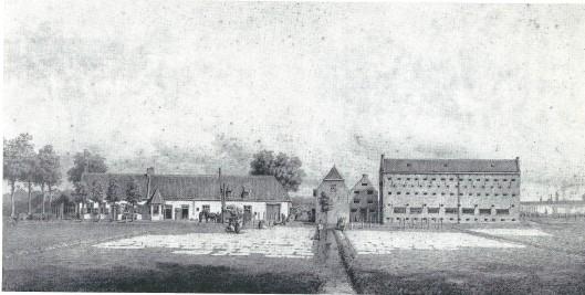Overzicht van de blekerij van Gehrels in Overveen in 1864. Naar P.A.Schipperus