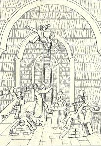 Spotprent op de situatie bij de ub Utrecht omstreeks 1856 in de grote bibliotheekzaal