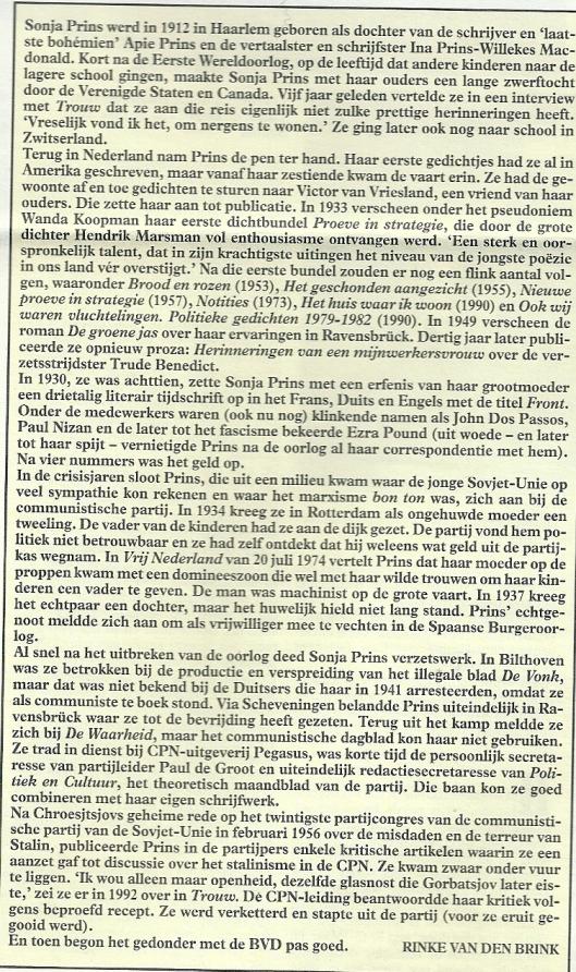Uit artikel: 'De BVD saboteert de familiegeschiedenis van Sonja Prins. In: weekblad Vrij Nederland, 9 augustus 1997