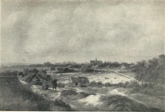 Bleekveld te Heemstede. Naar schilderij van W.Molenaer, circa 1680. Vroeger in bezit van de heer J.M.C.Hoog