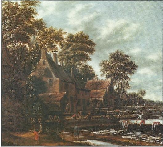 Schilderij van Thomas Heeremans, circa 1641 tot 1699. Hij was vanaf 1664 lid van het Sint Lucasgilde te Haarlem. Voorstelling van blekers aan het werk in de omgeving van Haarlem.