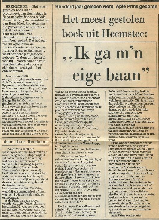 Artikel van Hans Rombouts n.a.v. 100ste geboortejaar Apie Prins, Haarlems Dagblad 1984.