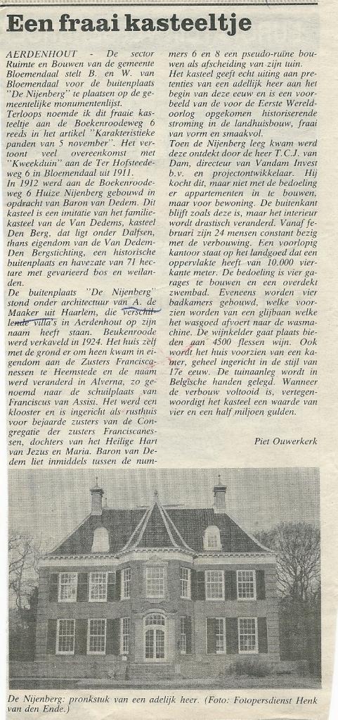 Artikel over landhuis Nyenberg, gebouwd in 1913 in opdracht van Arthur Baron van Dedem aan de Boekenroodeweg 6, Aerdenhout en intussen een gemeentelijk monument.