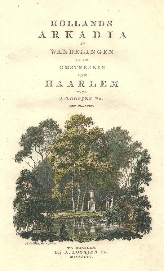 Titelvignet met voorstelling van nabootsing graf van Rousseau op Keukenduin, Meer en Berg, in: Hollands Arkadia van A.Loosjes, 1804