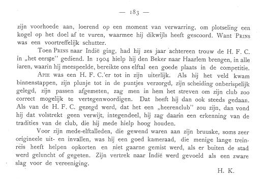 Vervolg en slot Apie Prins uit: Gedenkboek H.F.C. 1879-1919.