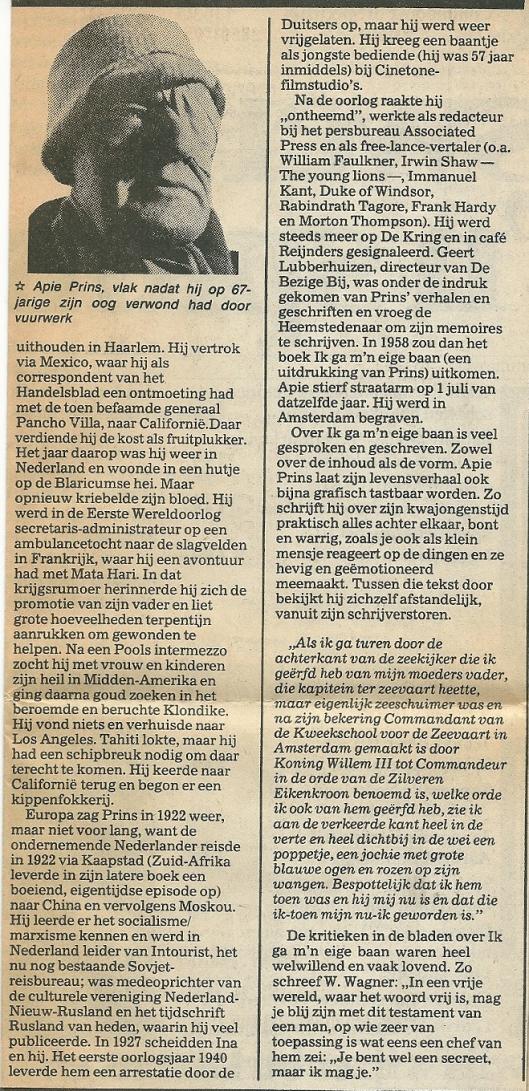 Vervolgartikel Apie Prins uit Haarlems Dagblad