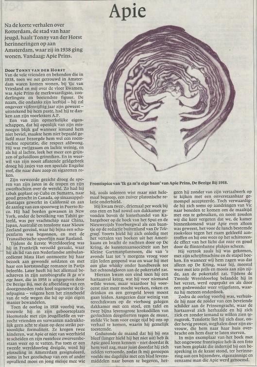 Apie (Prins) door Tonny van der Horst, NRC Handelsblad 4-10-2002.