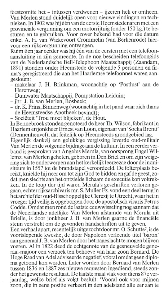 Uit: H.Krol, het adellijk geslacht Van Merlen