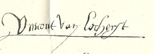 De signatuur van Vincent van Lockhorst, heer van Heemstede, die wèl ondertekende.