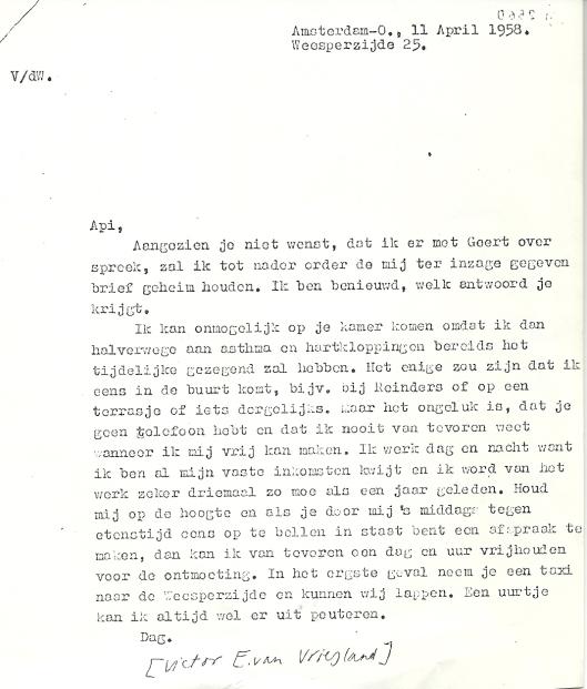 Brief van Victor E.van Vriesland aan Apie Prins, 11 april 1958