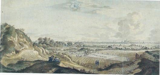 Jan de Beyer, tekening van linnen- en garenblekerijen te Overveen, 'te zien van de hooge duinen agter de Kleeverlaan'.1746