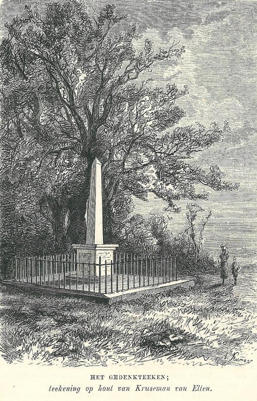 Gedenkteken aan het Manpad. Tekening op hout van Kruseman van Ellen, gepubliceerd in Nederlandsch Magazijn.