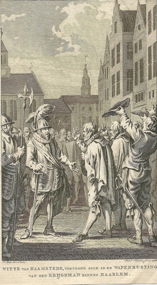 Witte van Haemstede vertoont zich in de wapenuitrusting van een krijgsman te Haarlem. Gravure door Renier Vinkeles