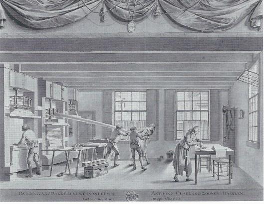 Aquarel van Joseph Charles: de lijnwaadpakkerij van de weduwe Anthonie Charles in de Frankestraat Haarlem, 1796