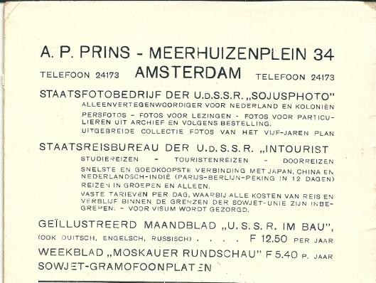 Advertentie van A.P.Prins uit 1932 toen hij zowel voor het staatsfotobedrijf 'Sojusfoto'van de USSR werkte als voor het staatsreisbureau 'Intourist'