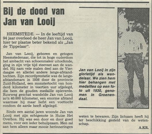 Bericht over overlijden van Jan van Looy, 'Jan de Tippelaar' uit de Heemsteedse Koerier van 21 augustus 1985