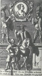 Gravure van Salomon Savry uit de vertaling van Cervantes' Don Quichot de la Mancha door Lambert van den Bos (1657)
