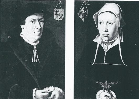 geschilderd portret van Jan de Fevere uit Brugge met blazoen van zijn familie. De vrouw is onbekend. In het verleden is gedacht aan Anna de Blancke, de veronderstelling is thans een dame uit de Noordelijke Nederlanden. (Stedelijke Musea Brugge; catalogus van conservator Dirk de Vos)